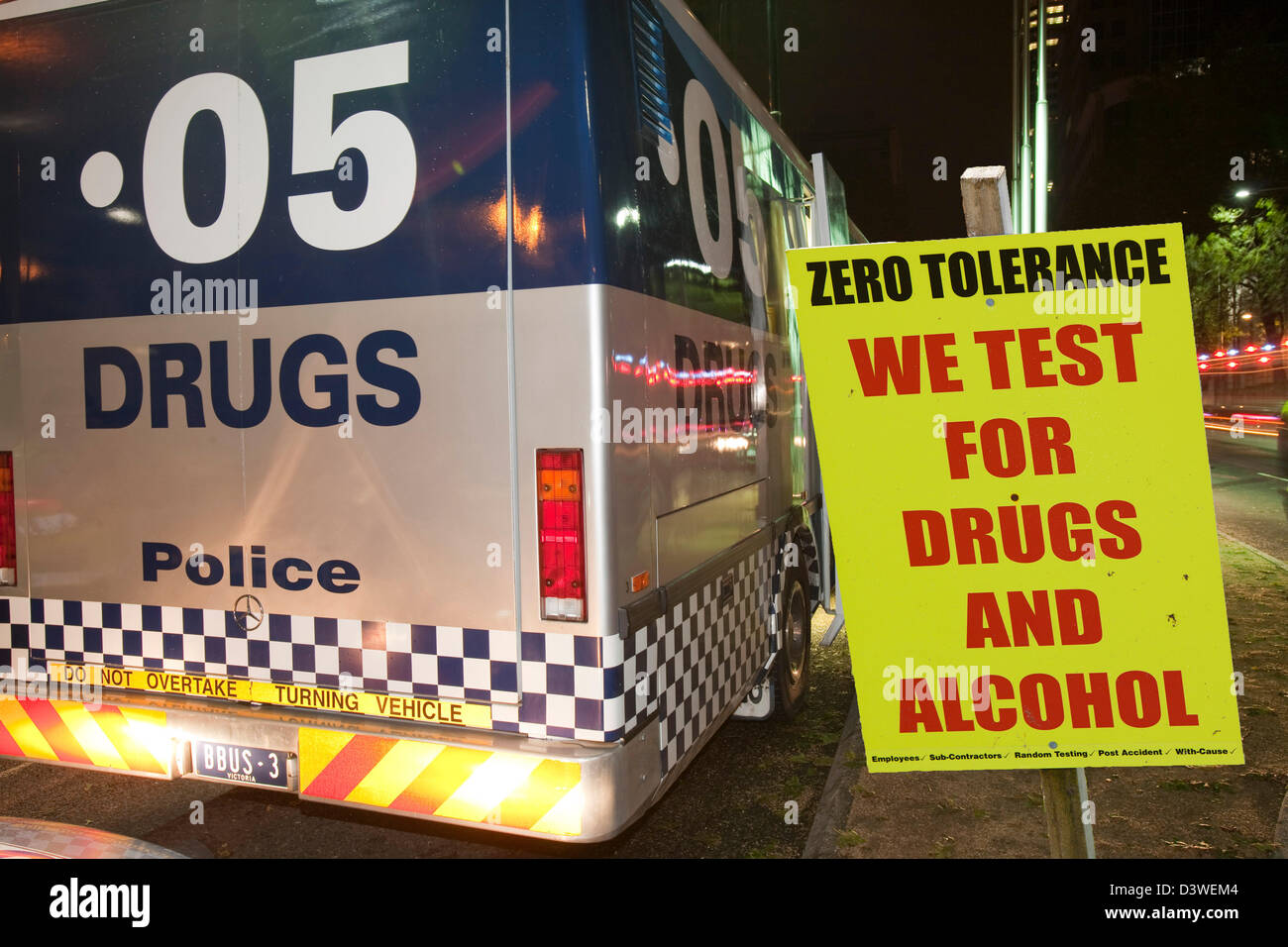 Melbourne police staging a campaign to stop and check drivers for drinking and driving and taking drugs and driving, - Stock Image