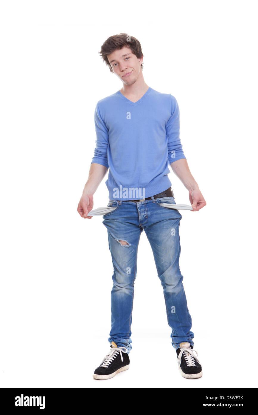 broke unemployed youth with empty pockets. - Stock Image