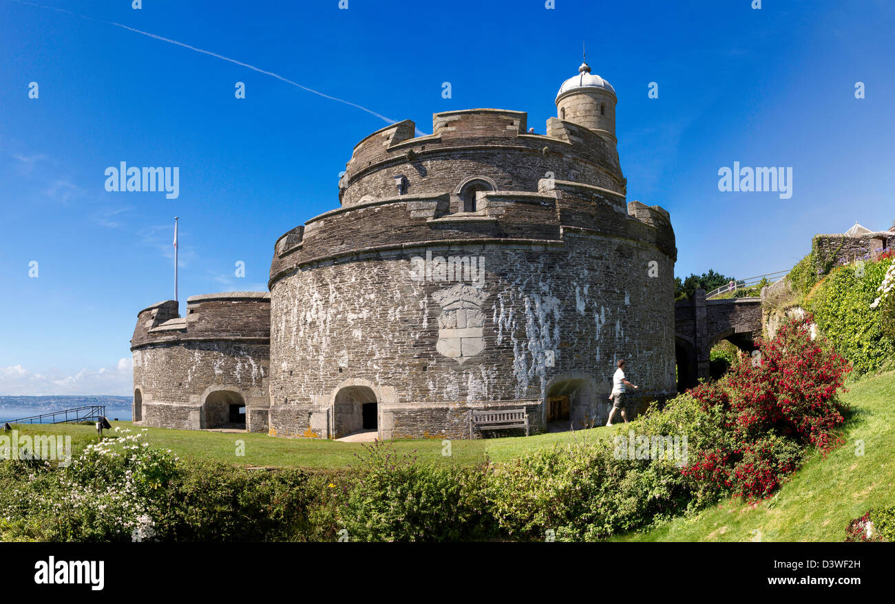 Coastal Defence Fort St Mawes Castle, Carrick  Roads, Cornwall - Stock Image
