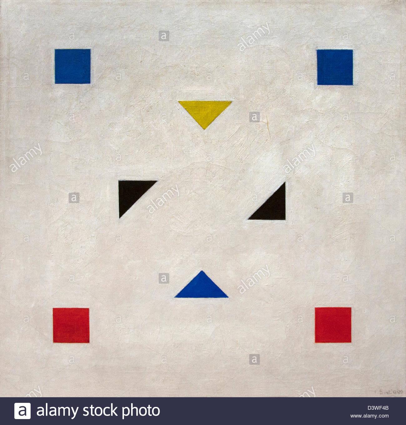 Composition 1918 Bart van der Leck Dutch Netherlands - Stock Image