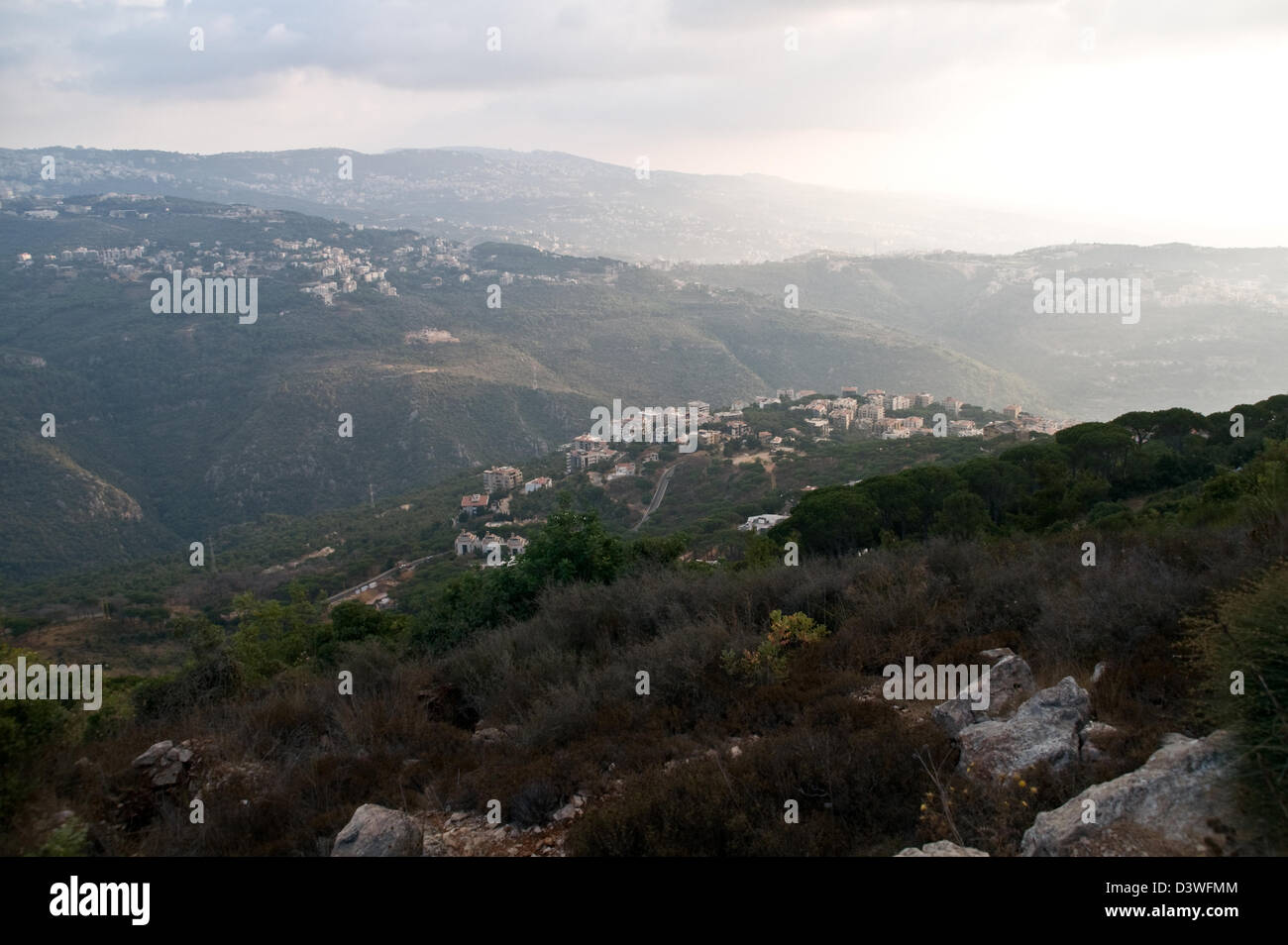 The village of Montiverdi as seen from Beit Meri in the Christian Mount Lebanon region north of Beirut, Lebanon. - Stock Image