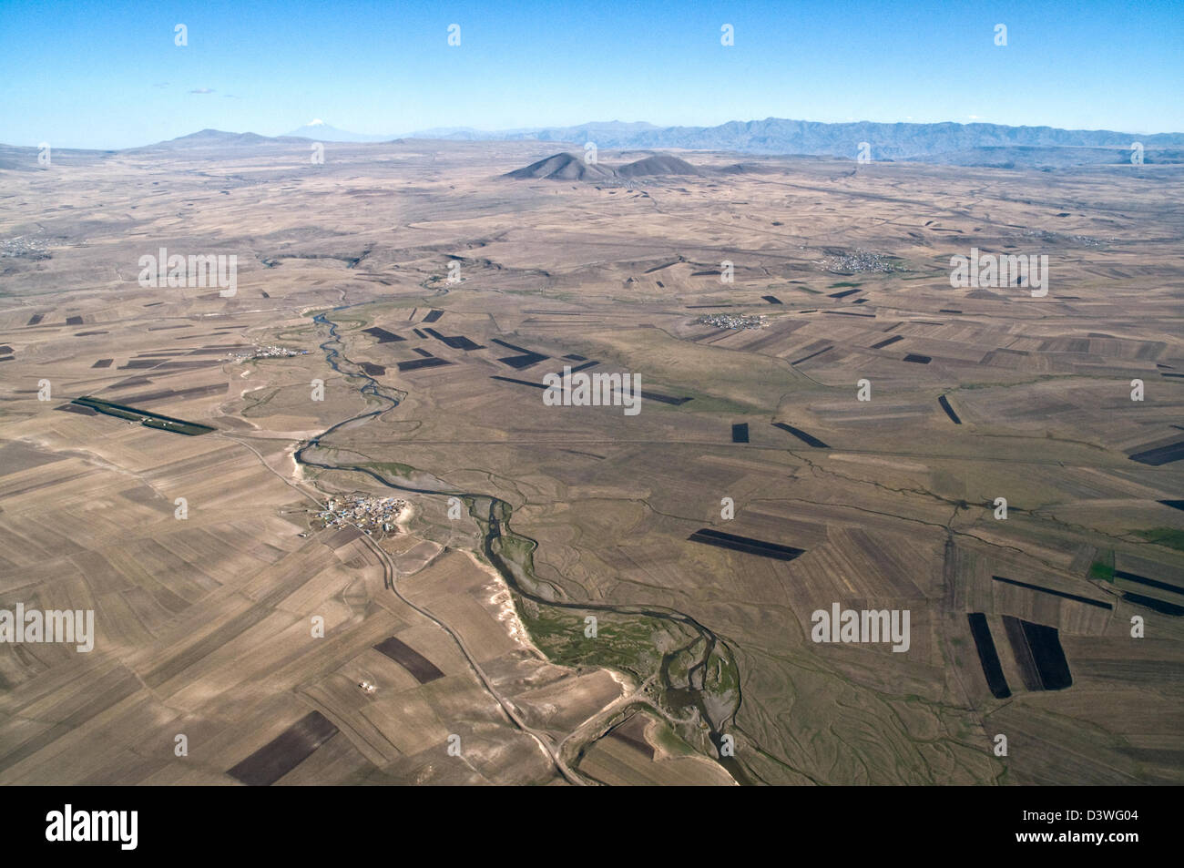 Aerial view of the Turkish steppe lands near the city of Kars and the Turkey-Armenia border. Mt. Ararat is seen - Stock Image