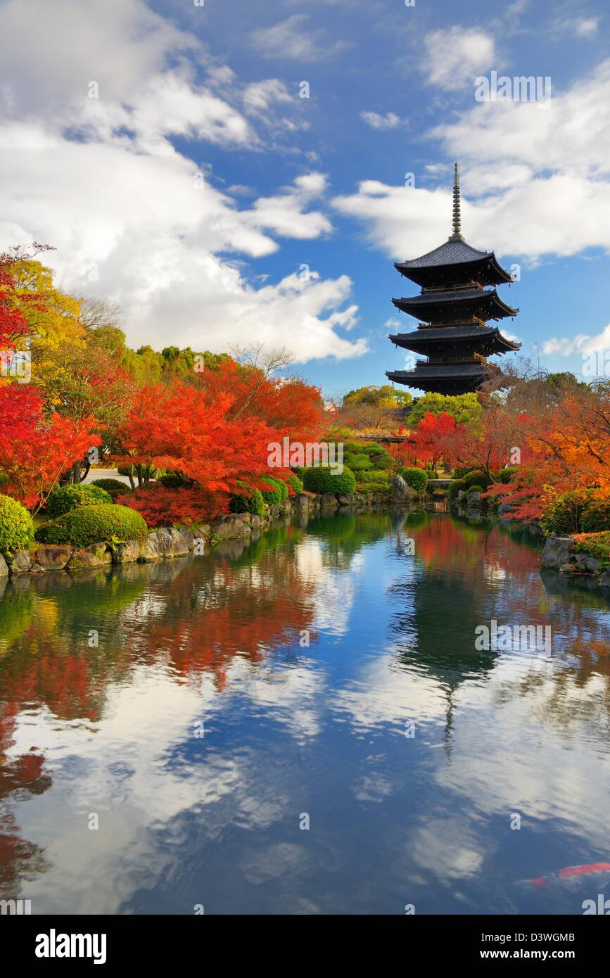 The wooden tower of To-ji Temple in Kyoto, Japan. - Stock Image