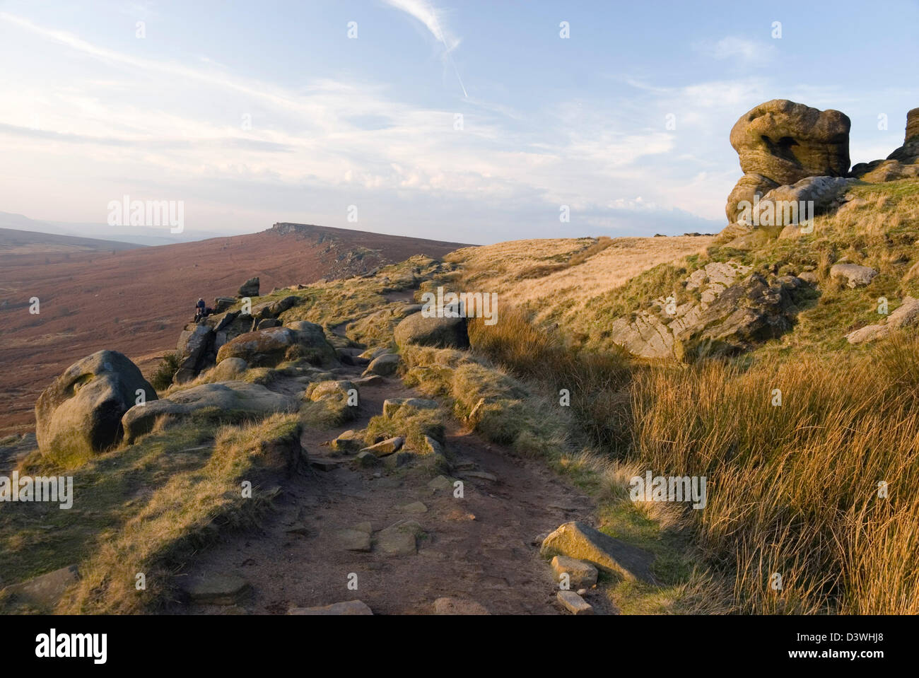 Pathway along the top of Stanage Edge, Hathersage Moor, Peak District, Derbyshire, UK - Stock Image