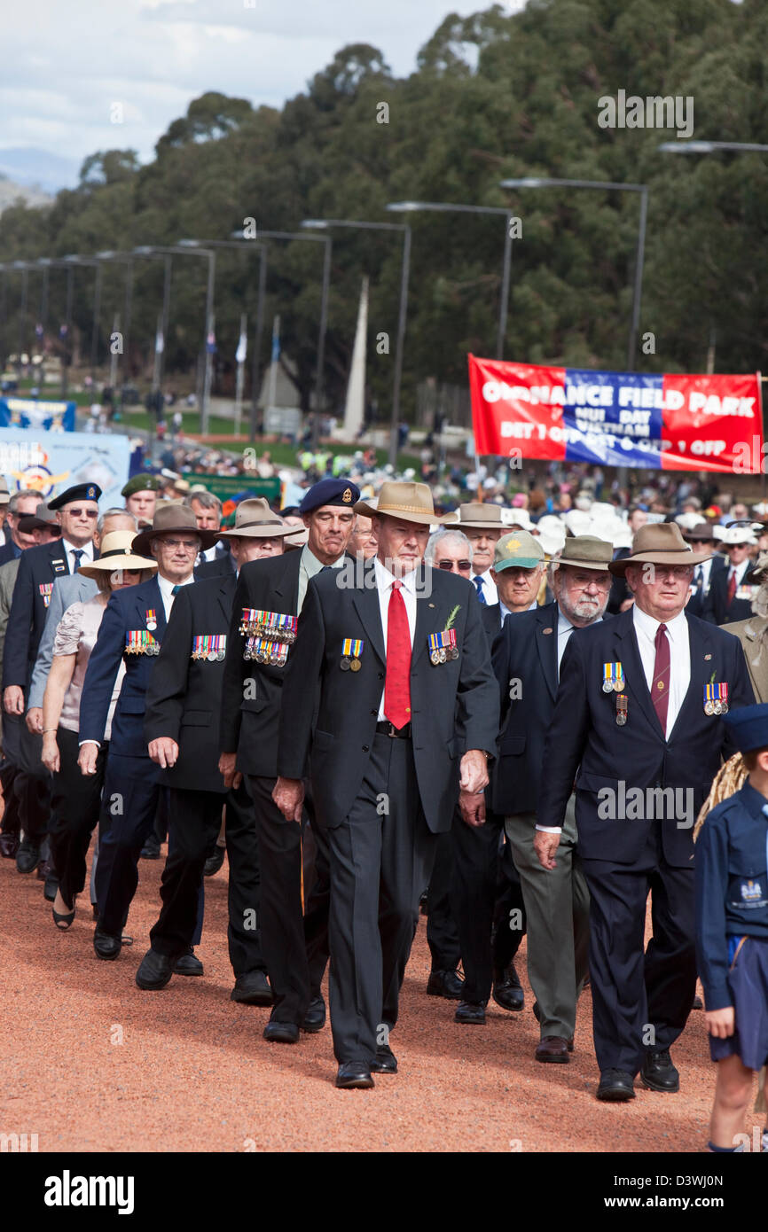 War veterans marching along Anzac Parade during Anzac Day Commemorations. Canberra, Australian Capital Territory, - Stock Image