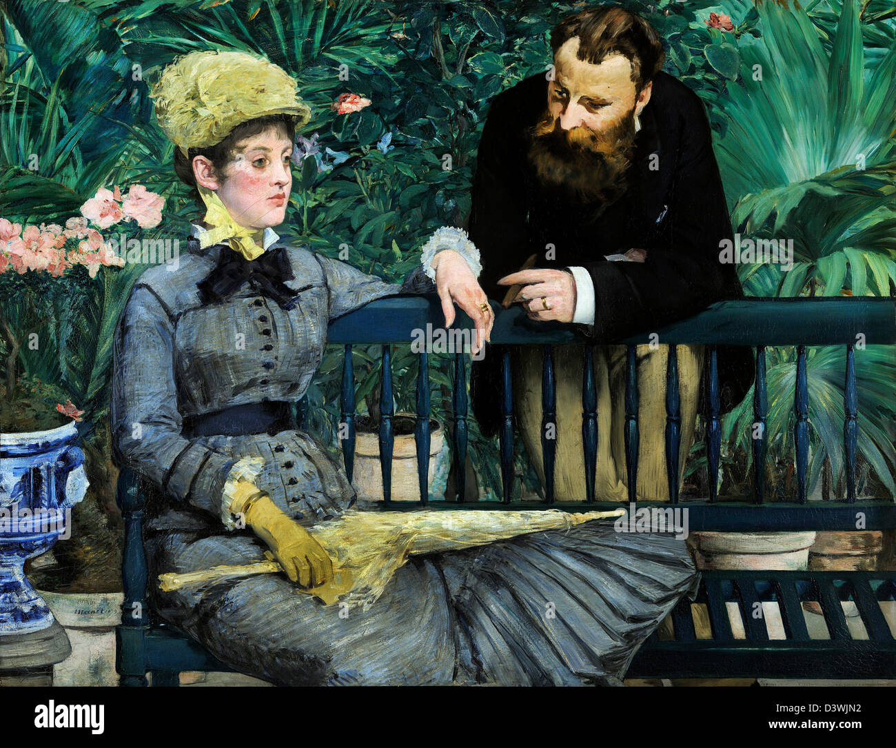 Edouard Manet, In the Conservatory 1879 Oil on canvas. Alte Nationalgalerie, Berlin - Stock Image