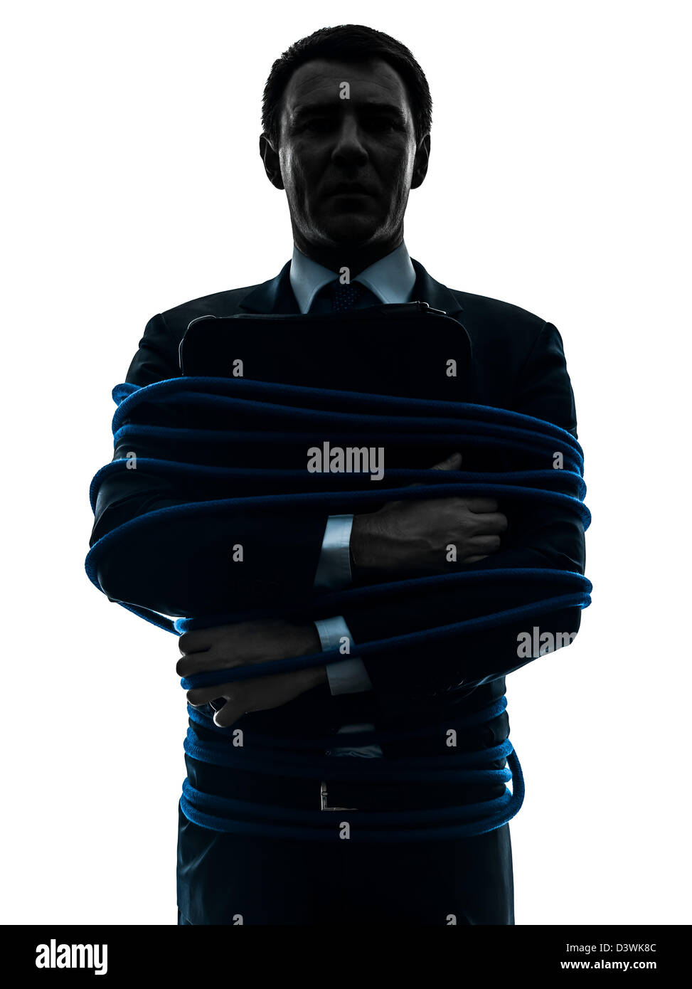 one  business man tied up prisoner in silhouette studio isolated on white background - Stock Image