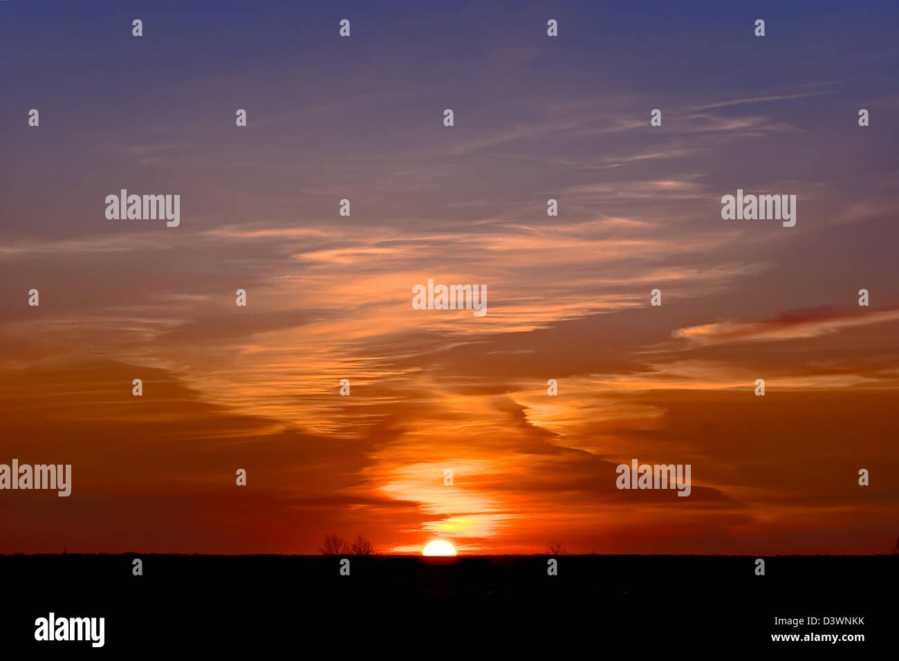 Beautiful decline on which it is visible half of sun - Stock Image
