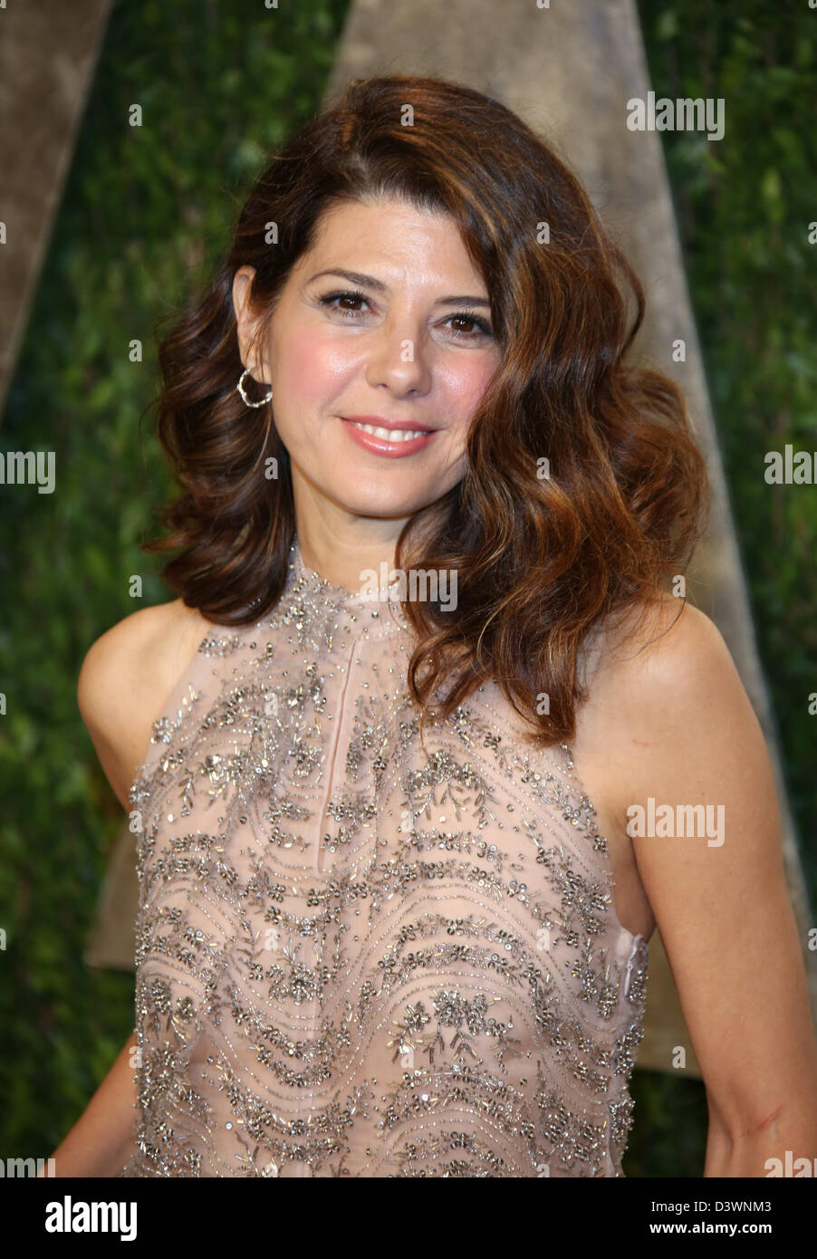 Actress Marisa Tomei arrives at the Vanity Fair Oscar Party at Sunset Tower in West Hollywood, Los Angeles, USA, - Stock Image
