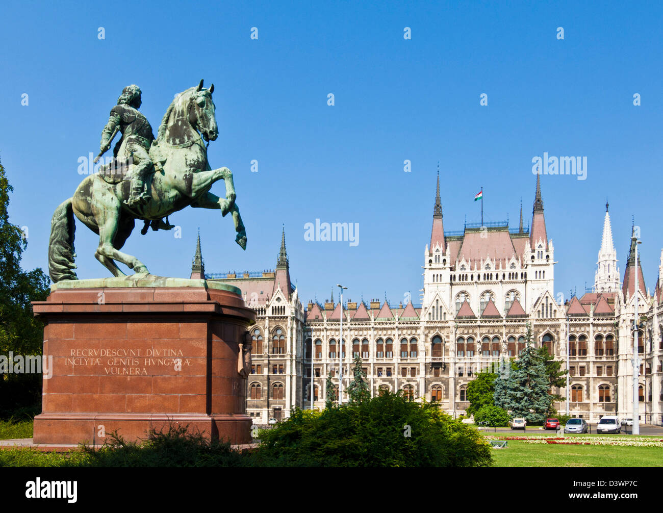 The neo-gothic Hungarian Parliament building, designed by Imre Steindl, statue of ferenc Rakoczi II Budapest Hungary - Stock Image