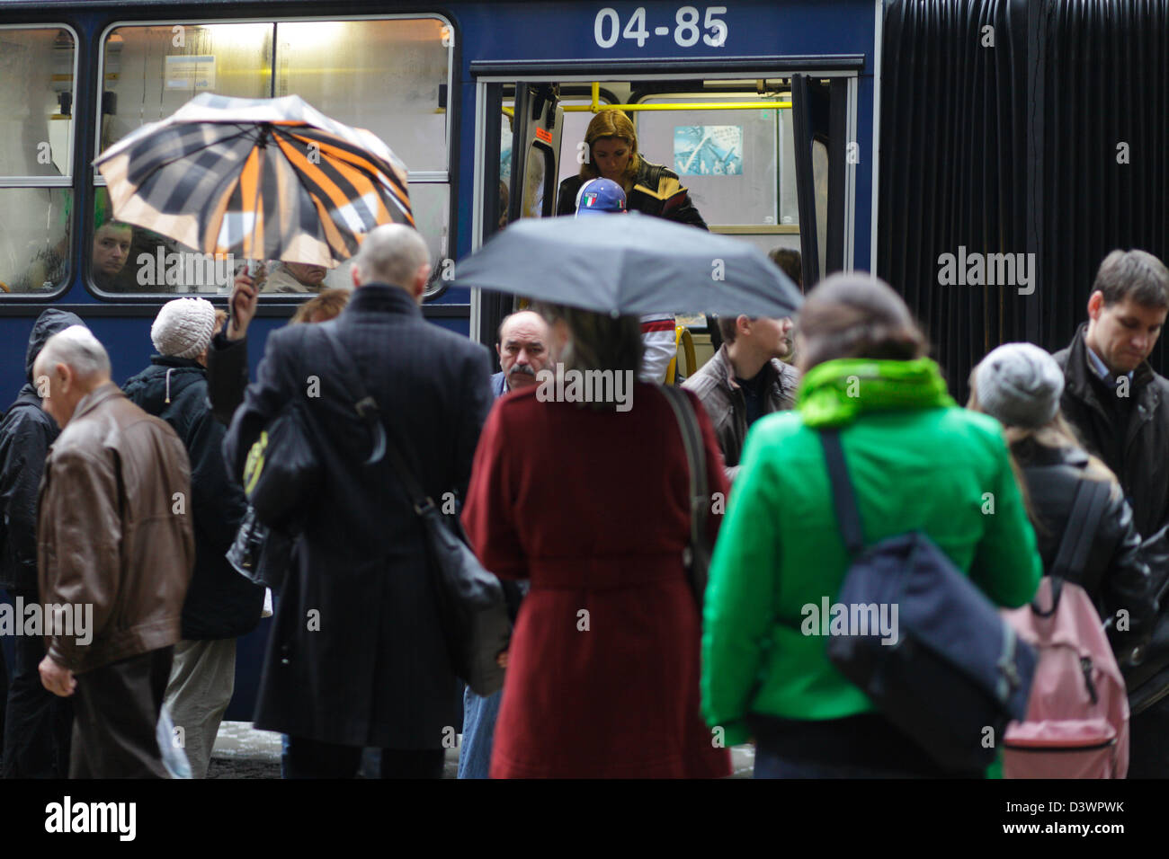 Budapest, Hungary, Passengers board a bus Stock Photo