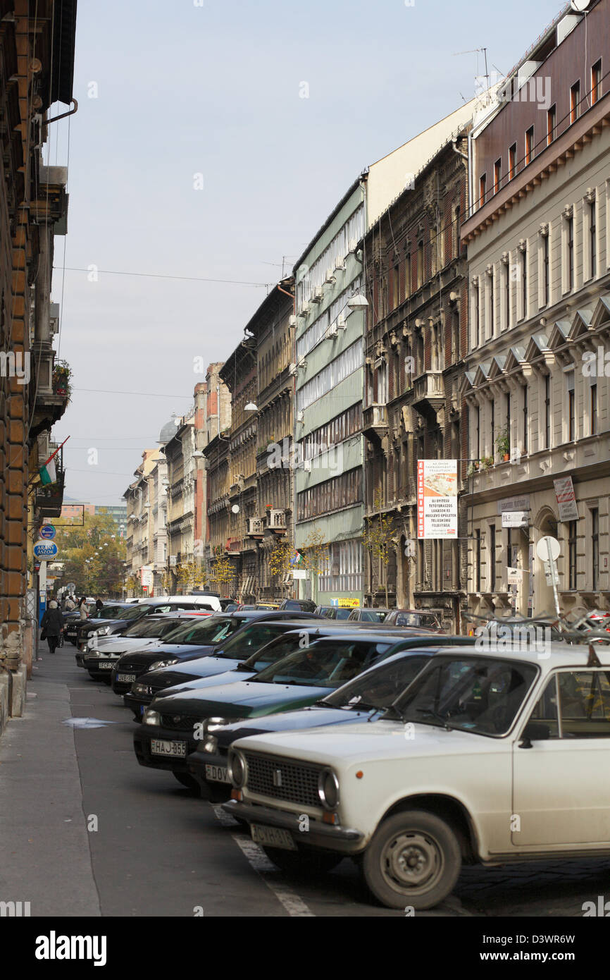 Budapest, Hungary, parked cars in downtown - Stock Image