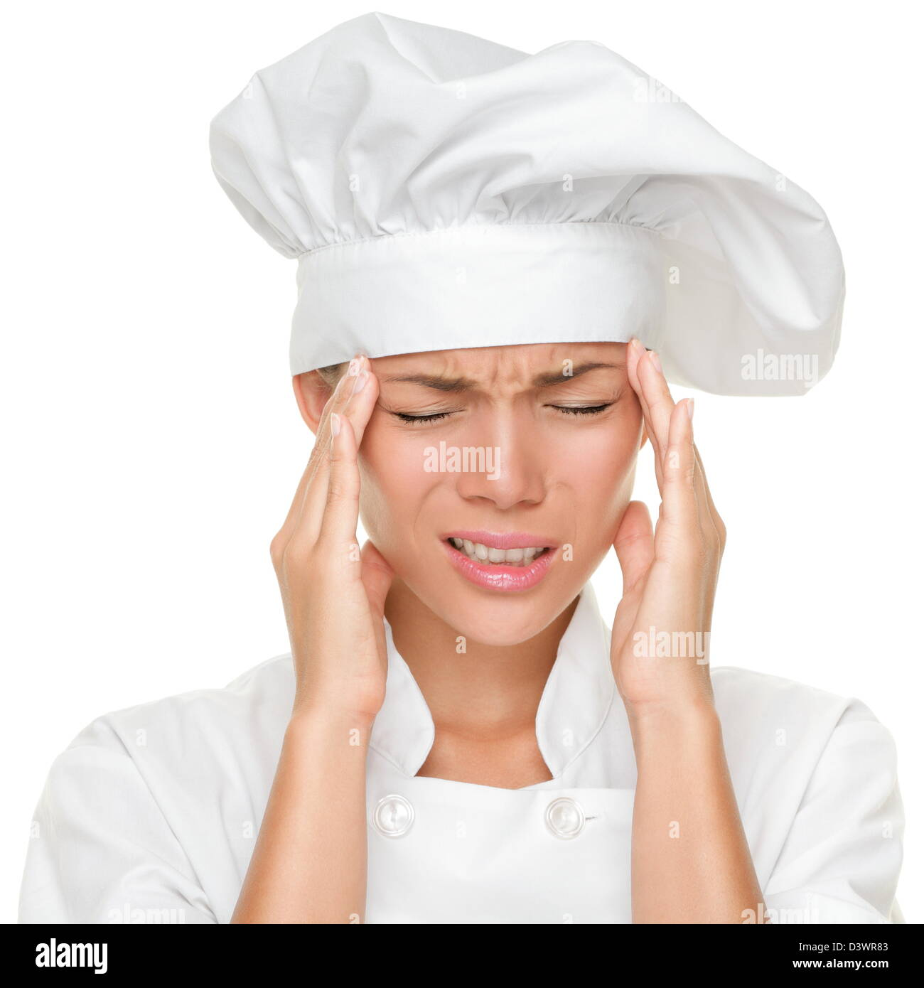 Closeup of Asian Caucasian female chef feeling tired stressed and overworked with stress isolated on white background - Stock Image