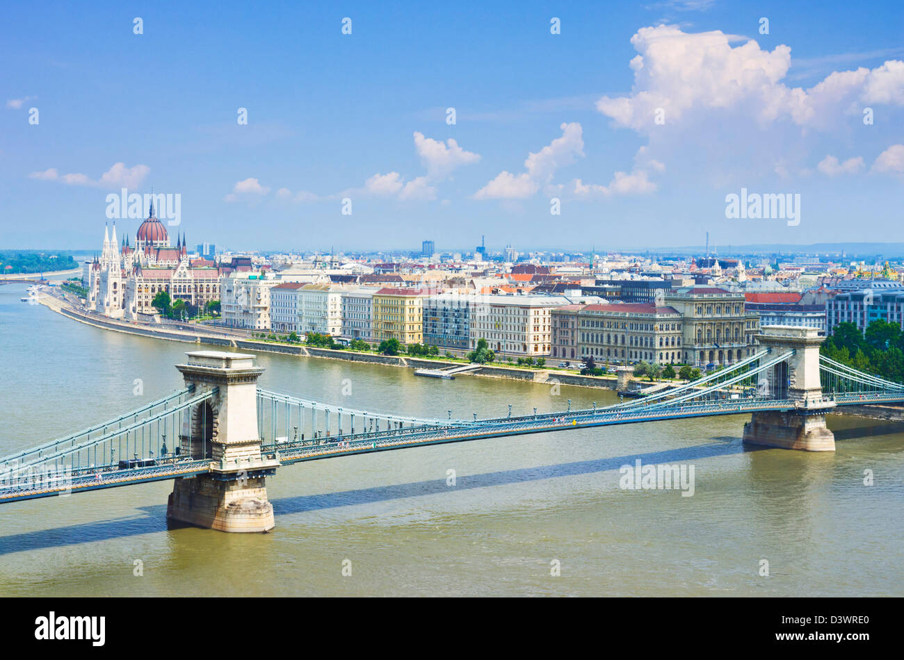 Hungarian Parliament building with the chain bridge Szechenyi Lanchid over the river Danube Budapest, Hungary eu - Stock Image