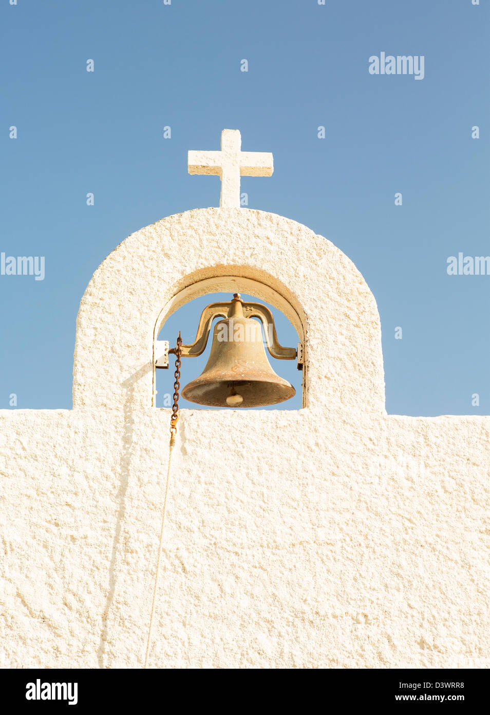 The mission bell on the Santa Maria y San Jose Mission, Lajitas, TX - Stock Image