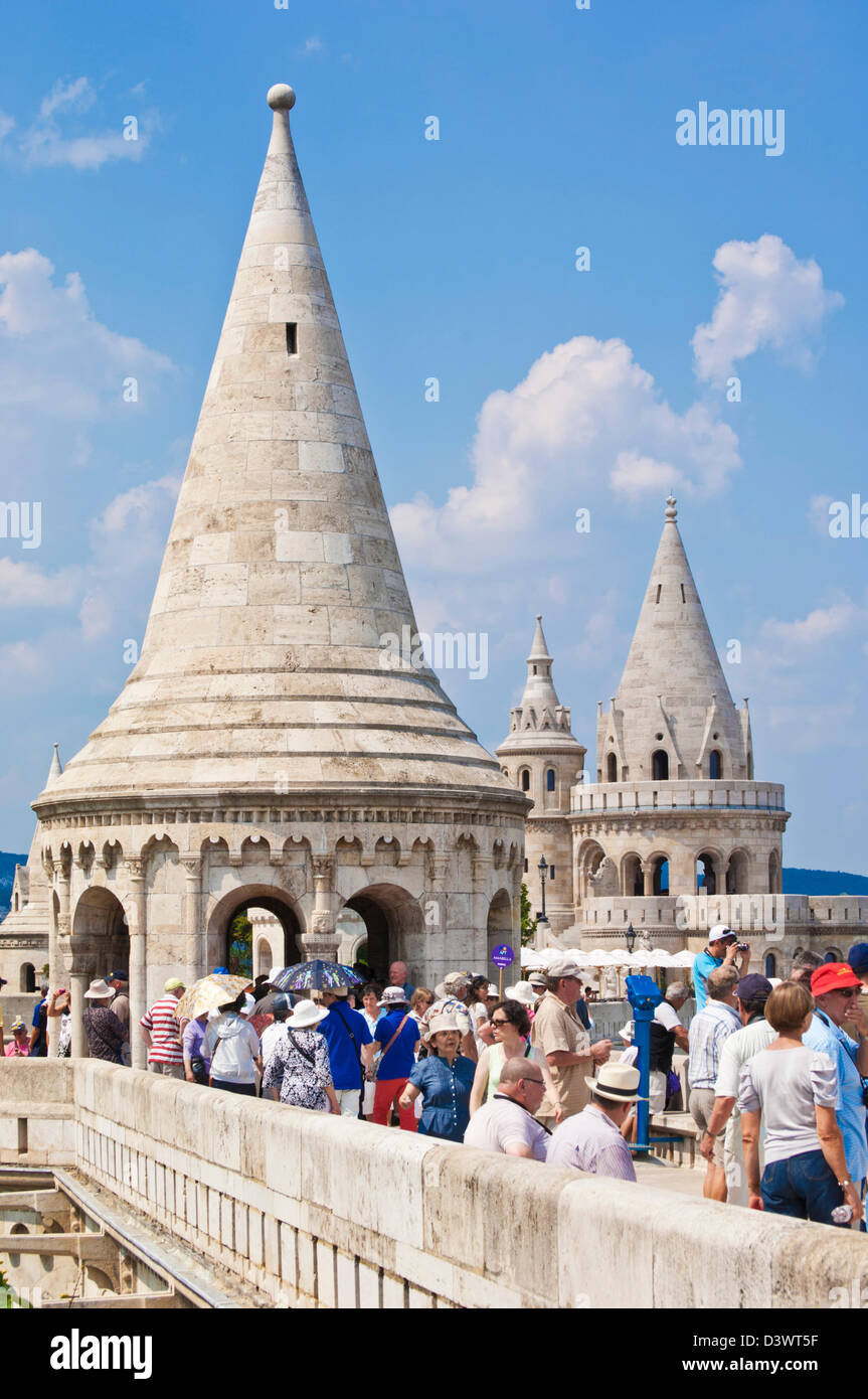 Tourists visiting the towers of the Fishermen's Bastion Budapest, Hungary, Europe, EU - Stock Image