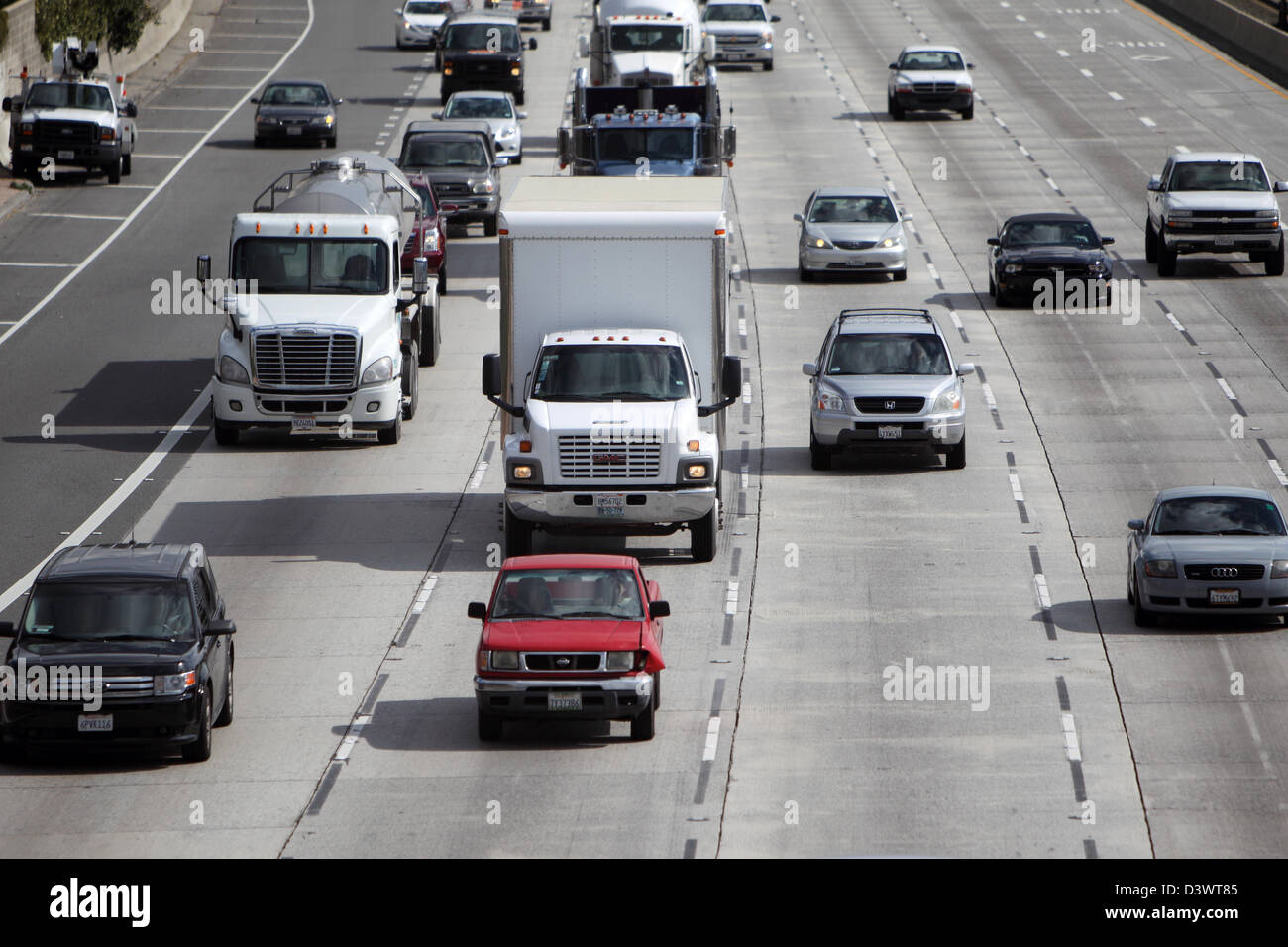 LOS ANGELES, CALIFORNIA, USA - FEBRUARY 21, 2013 - Traffic on the 210 Freeway in Pasadena in LA County on February - Stock Image