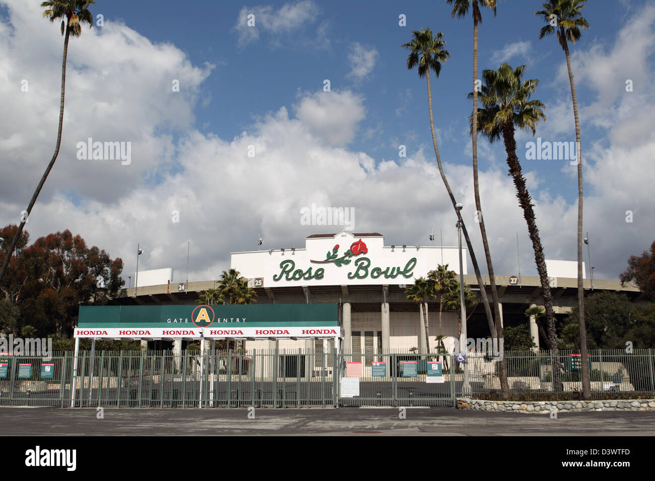 PASADENA, CA - FEBRUARY 21 : A view of the Rose Bowl stadium entrance on February 21, 2012. - Stock Image