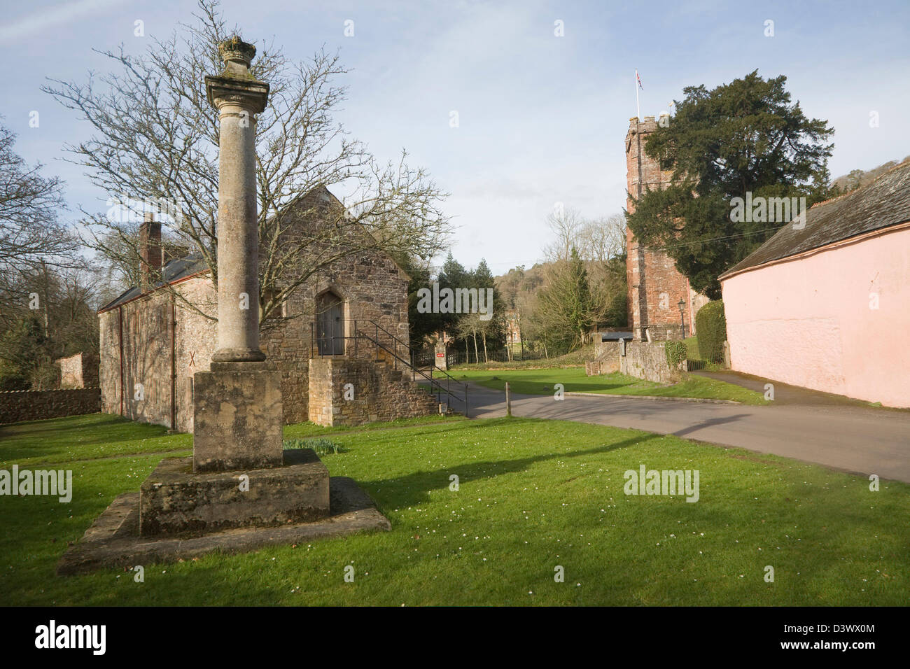 Sixteenth century church house building and war memorial, Crowcombe, Somerset, England - Stock Image