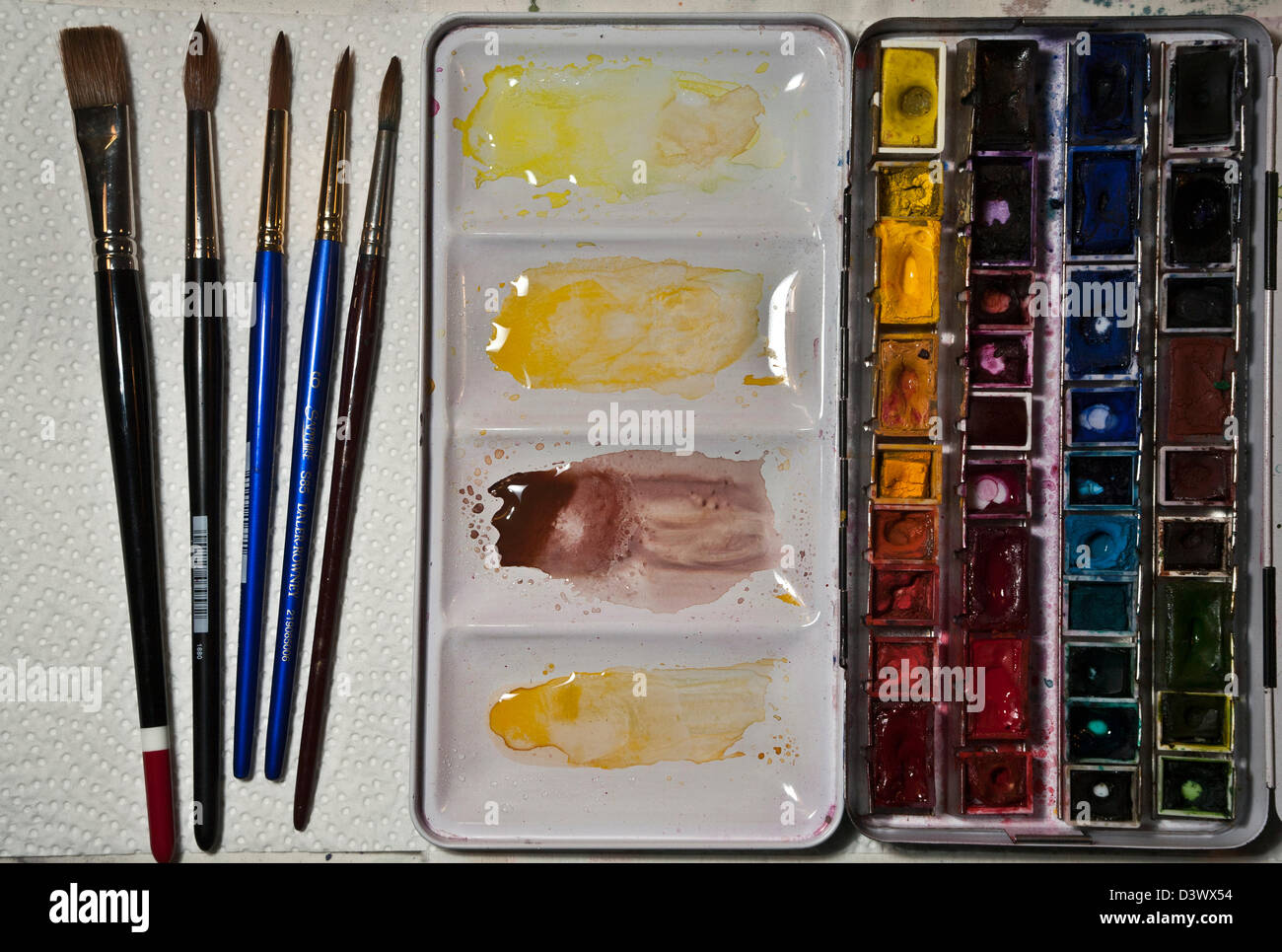 Watercolor paints and brushes - Stock Image