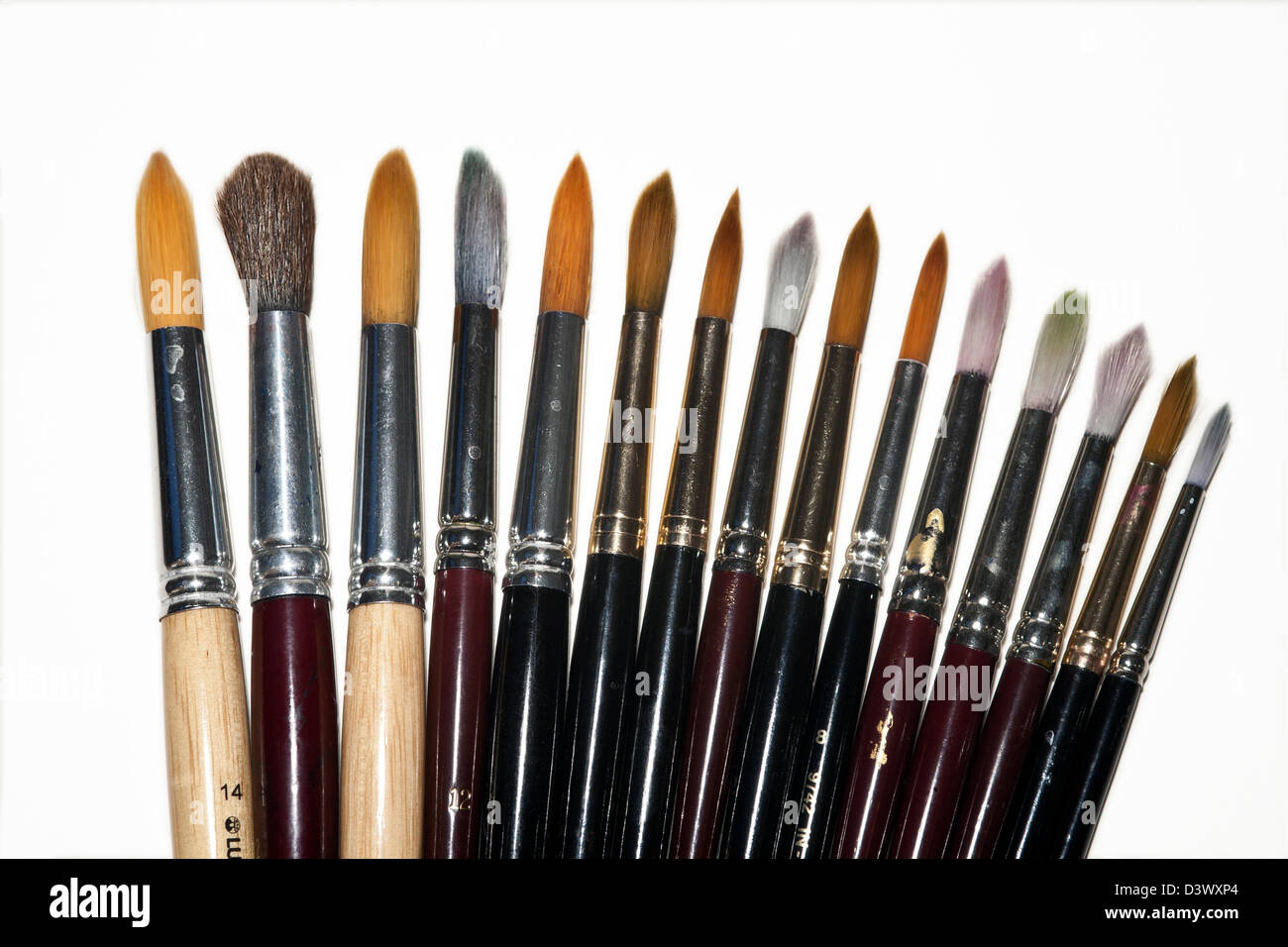 Selection of watercolor brushes - Stock Image