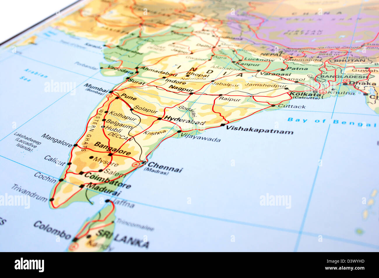 India Map With Mountains And Rivers Stock Photo 54045529 Alamy