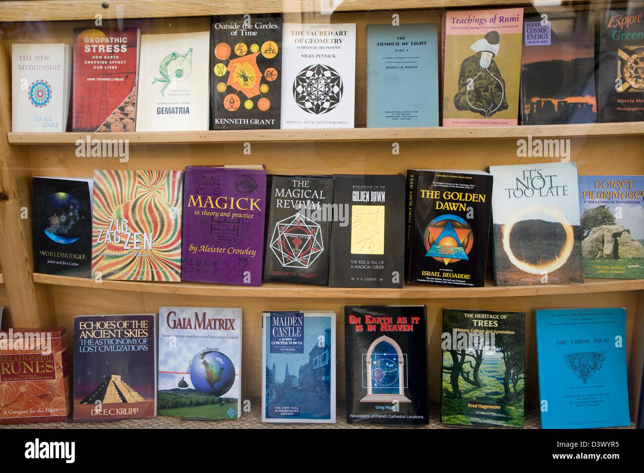 Religious, spiritual, magic books on display in bookshop