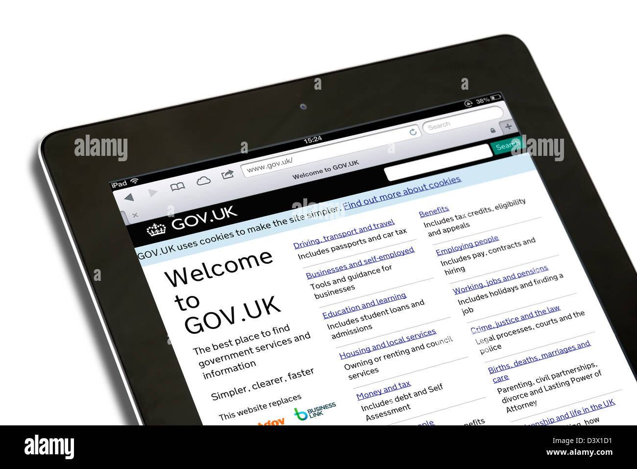 The UK government services site Gov.UK viewed on an retina display iPad - Stock Image