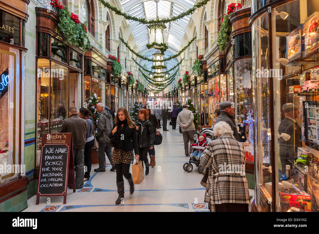 Christmas decorations in the Royal Arcade in Norwich , Norfolk , England , Britain , Uk - Stock Image