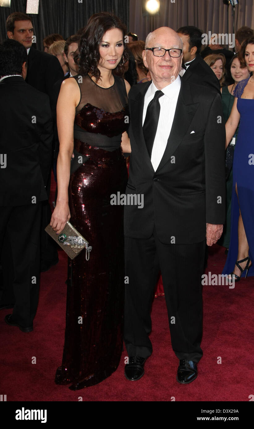 RUPERT MURDOCH & WIFE 85TH ACADEMY AWARDS ARRIVALS DOLBY THEATRE LOS ANGELES CALIFORNIA USA 24 February 2013 - Stock Image