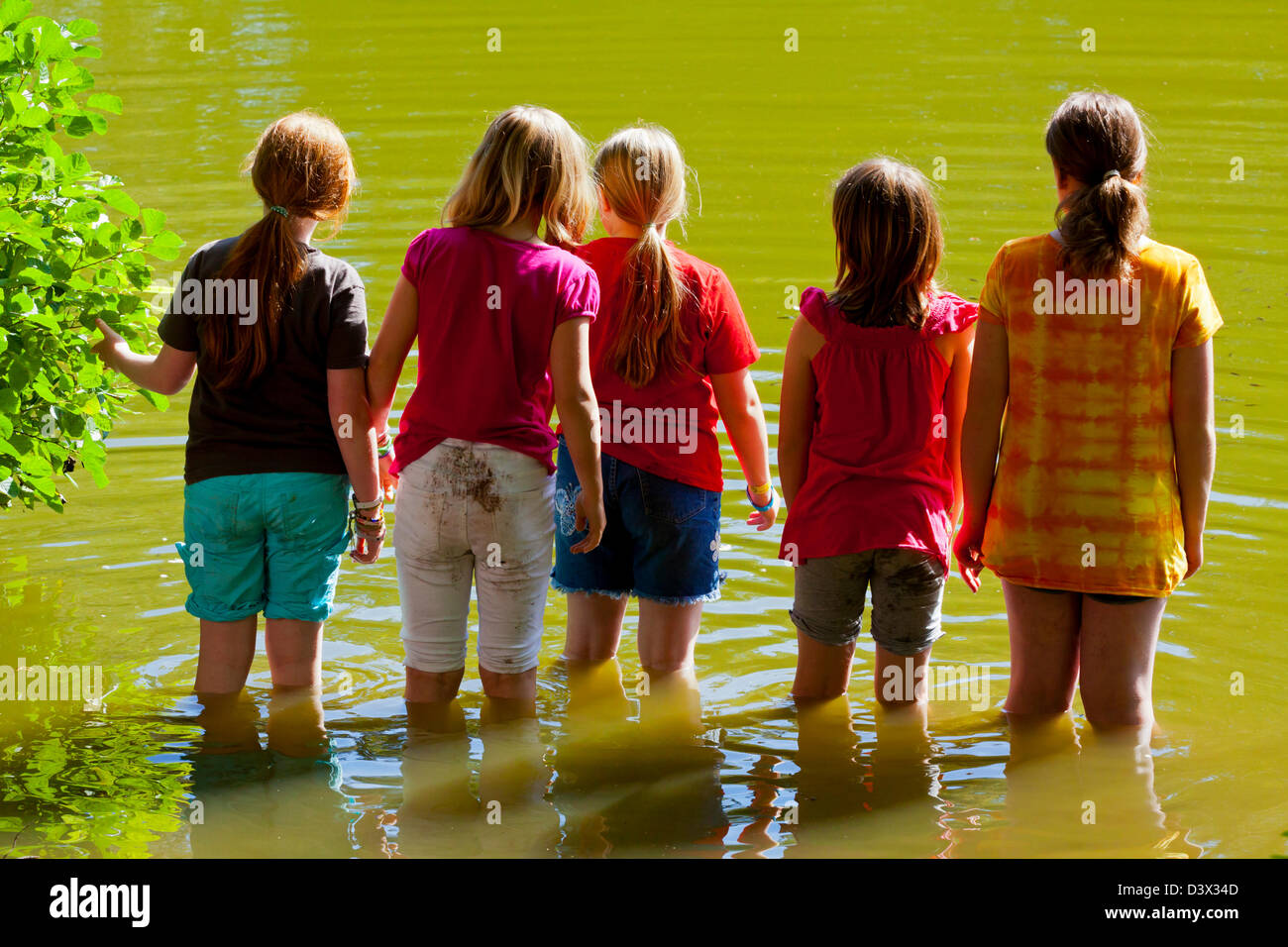 Group of five girls paddling in a lake on a hot summer day and looking out across the water - Stock Image