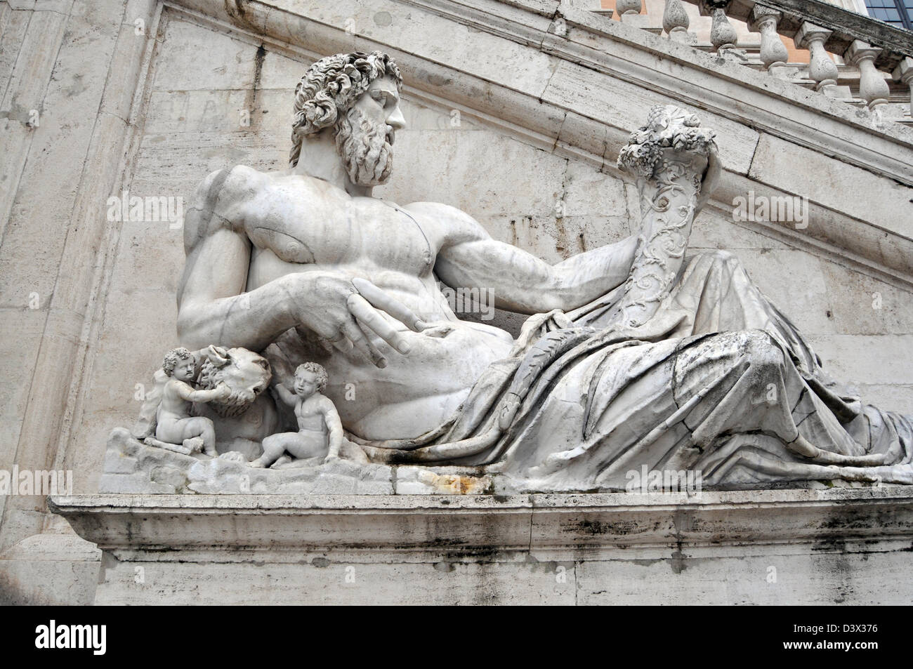 Rome Statue outside the Capitoline Museums, Statue of Tiber Capitoline, Rome Italy - Stock Image