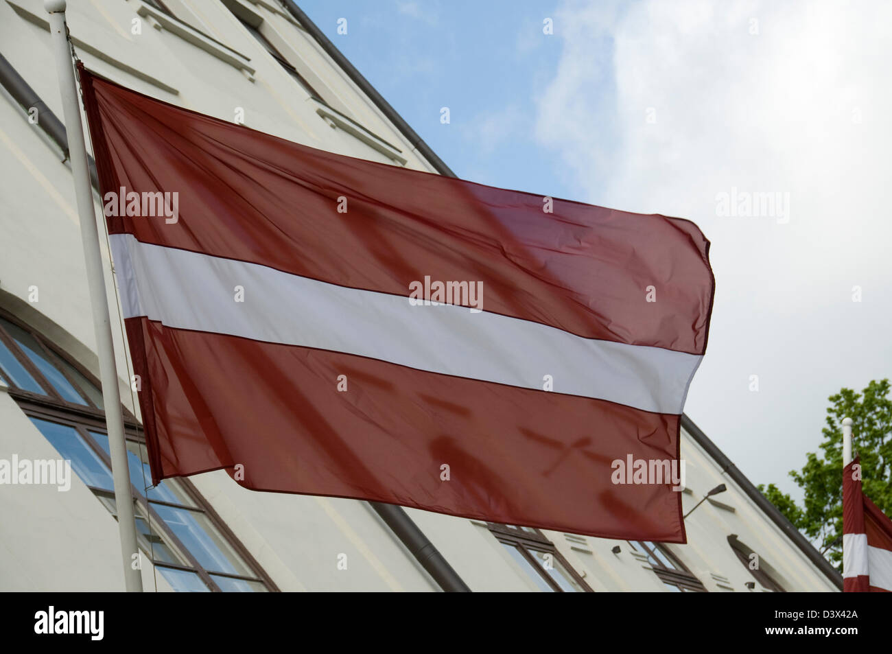 The national flag of the Republic of Latvia Baltic States Stock Photo