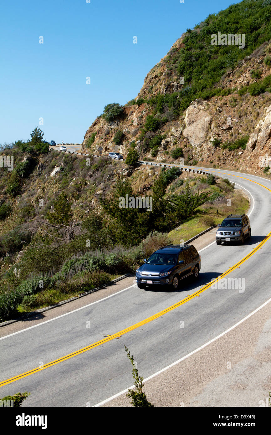 California Highway one (PCH) on the Californian Coast in Big Sur - Stock Image