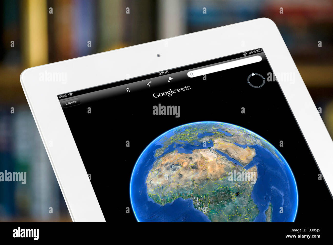 Google earth viewed on a 4th generation iPad - Stock Image