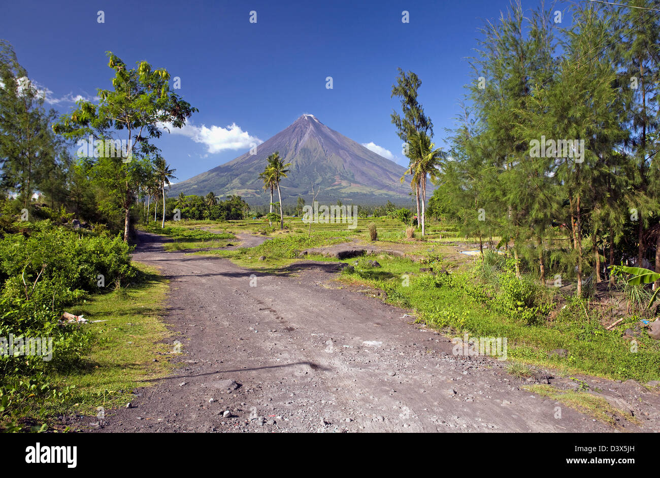 Mount Mayan volcano near Legazpi City in the Bicol region of Luzon in the Philippine Islands. - Stock Image