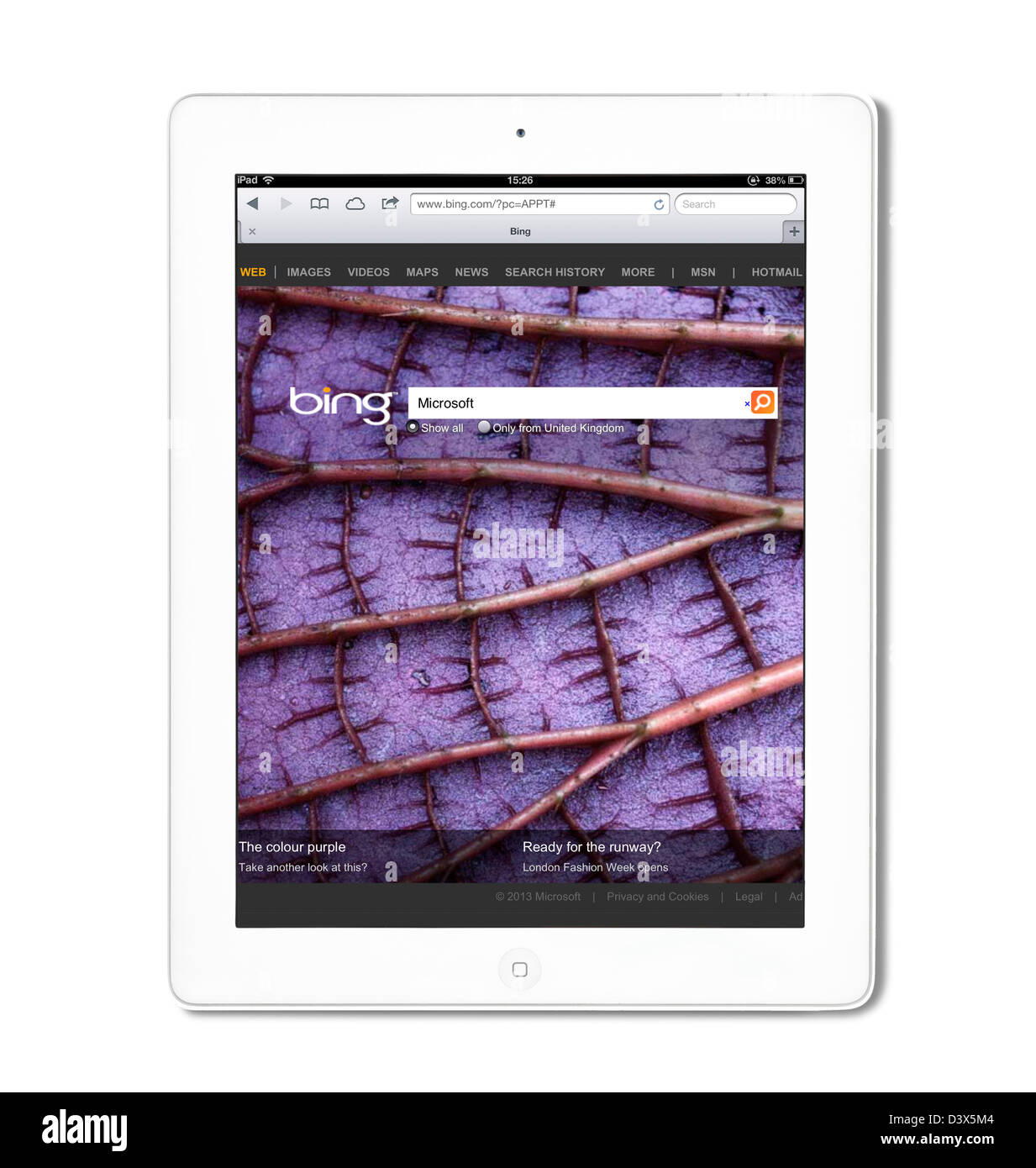Bing search viewed on a 4th generation iPad - Stock Image