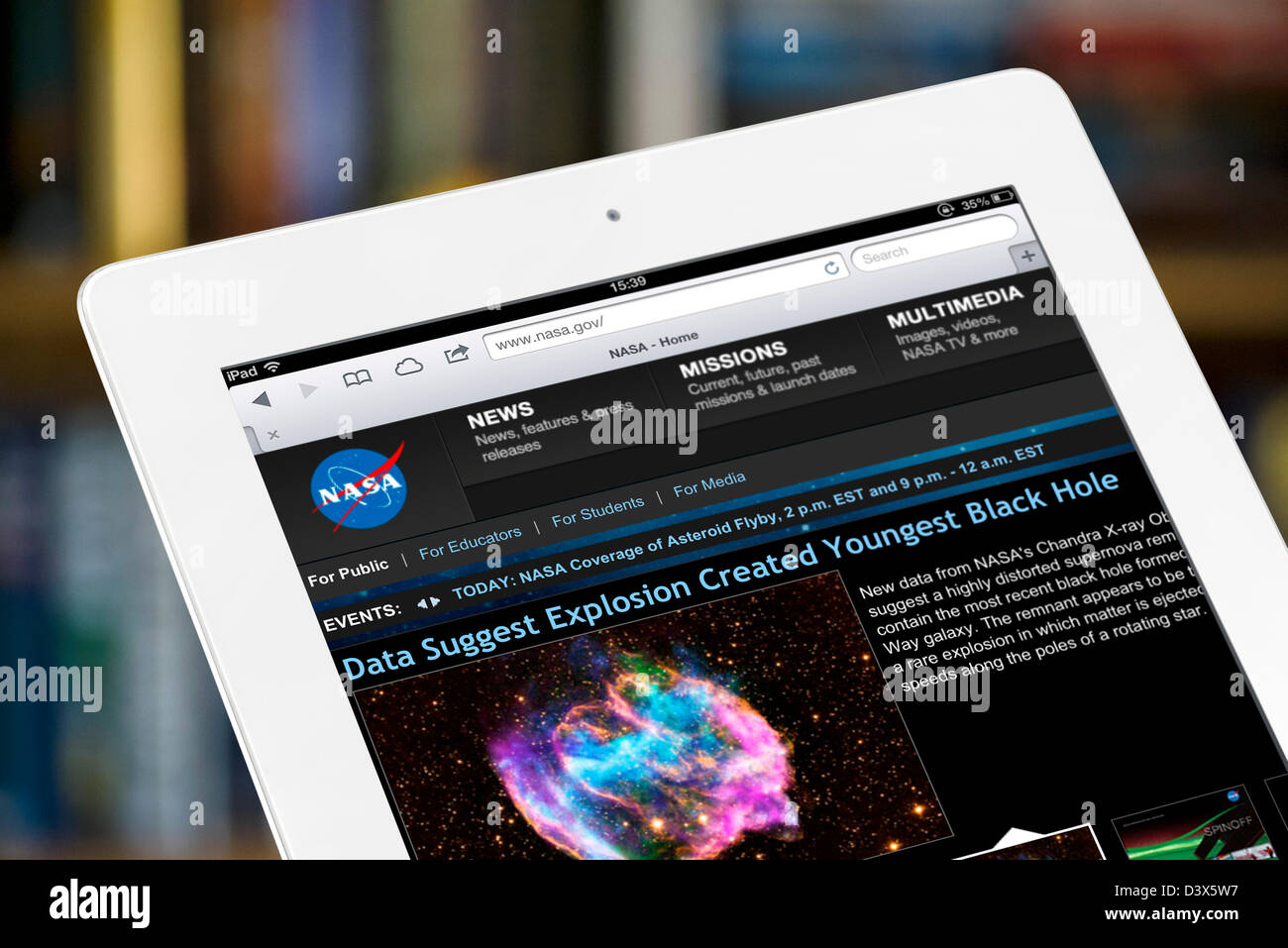 The official NASA website viewed on a 4th generation iPad - Stock Image
