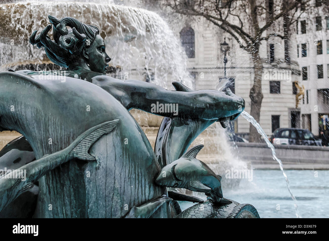 Trafalgar Square Mermaid water Fountains, in Central London - Stock Image