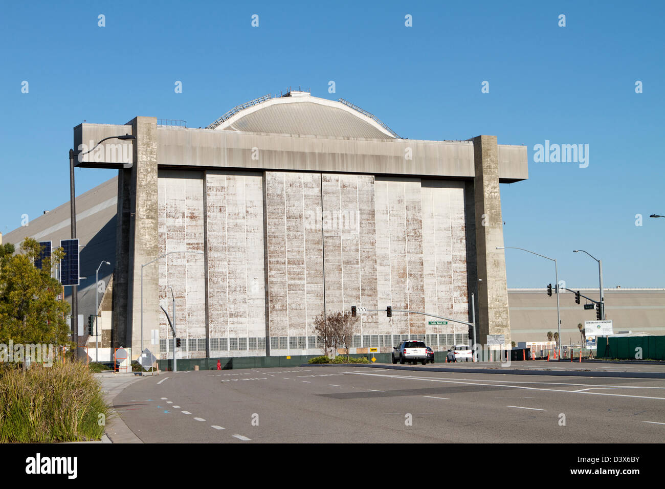 Blimp hangars at the former U.S. Navy and Marine Corps air station in Tustin, California. - Stock Image