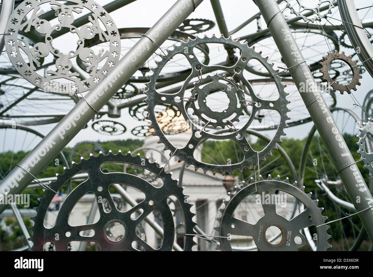 A bicycle sculpture using parts in VT USA - Stock Image
