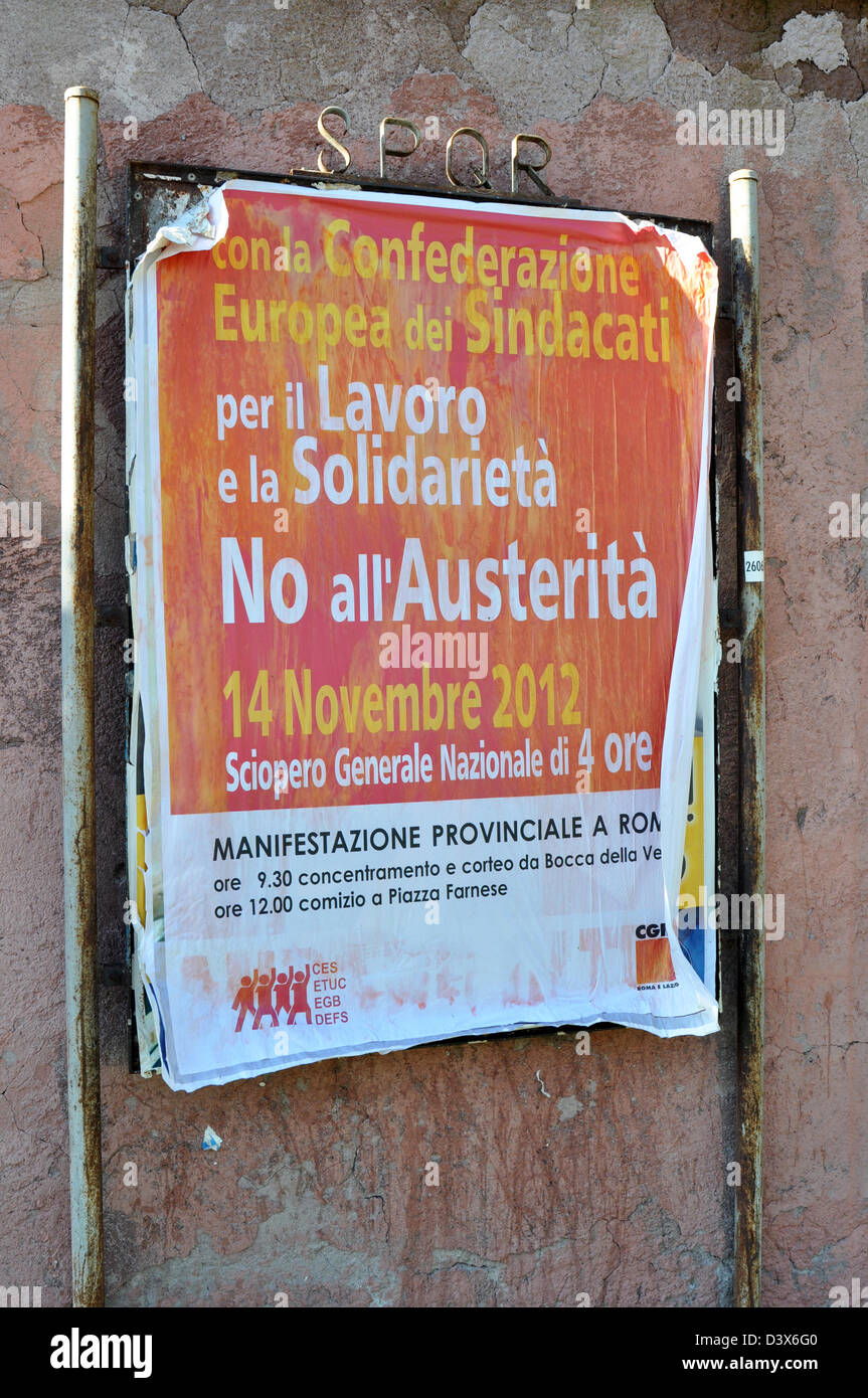 Rally against Austerity poster, Rome, Italy 19.11.12 - Stock Image