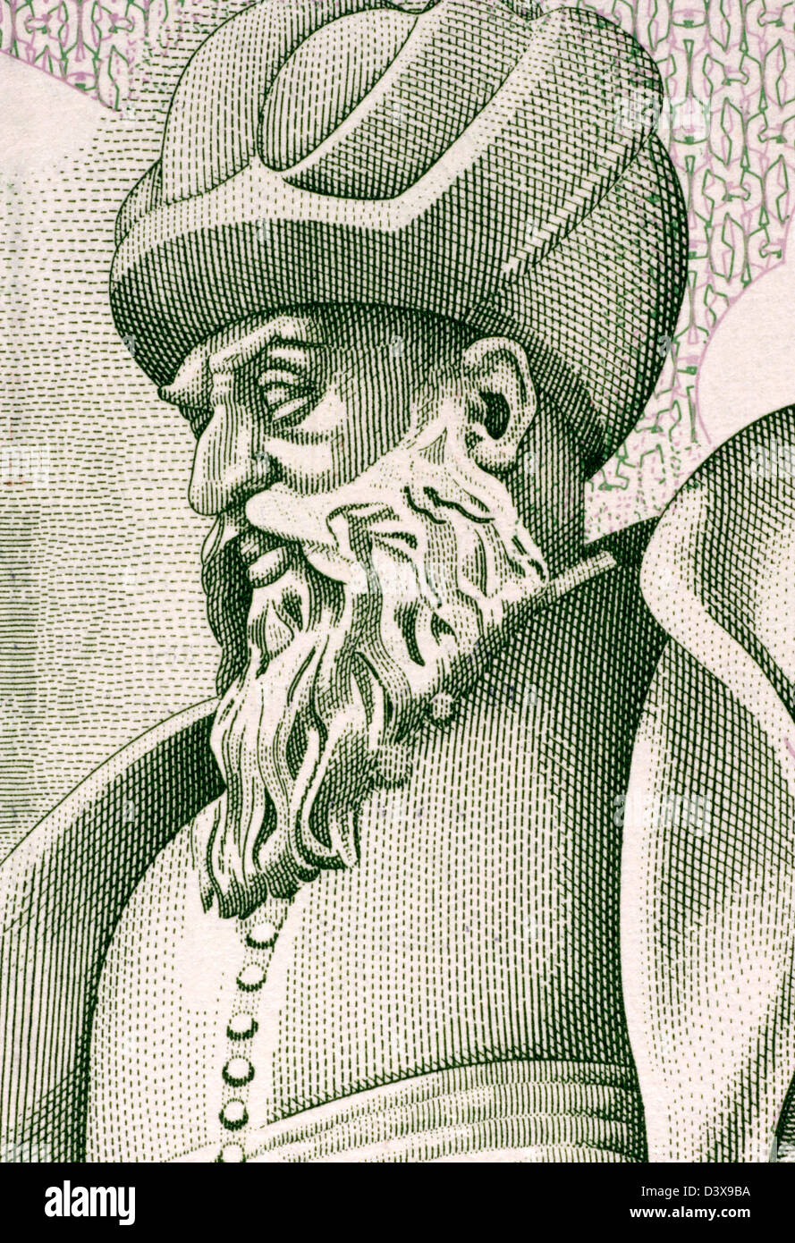 Mimar Sinan (1489-1588) on 10000 Lira 1989 Banknote from Turkey. Ottoman architect and civil engineer. - Stock Image