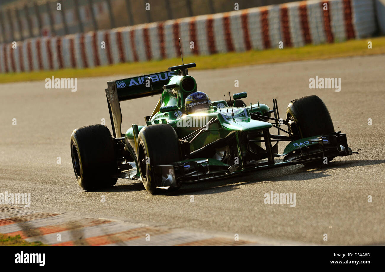 Charles Pic (FRA), Caterham CT03 during Formula One tests on Circuit de Catalunya racetrack near Barcelona, Spain - Stock Image