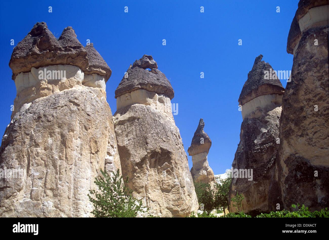 Unusual natural stone formations in Cappadocia, Turkey - Stock Image