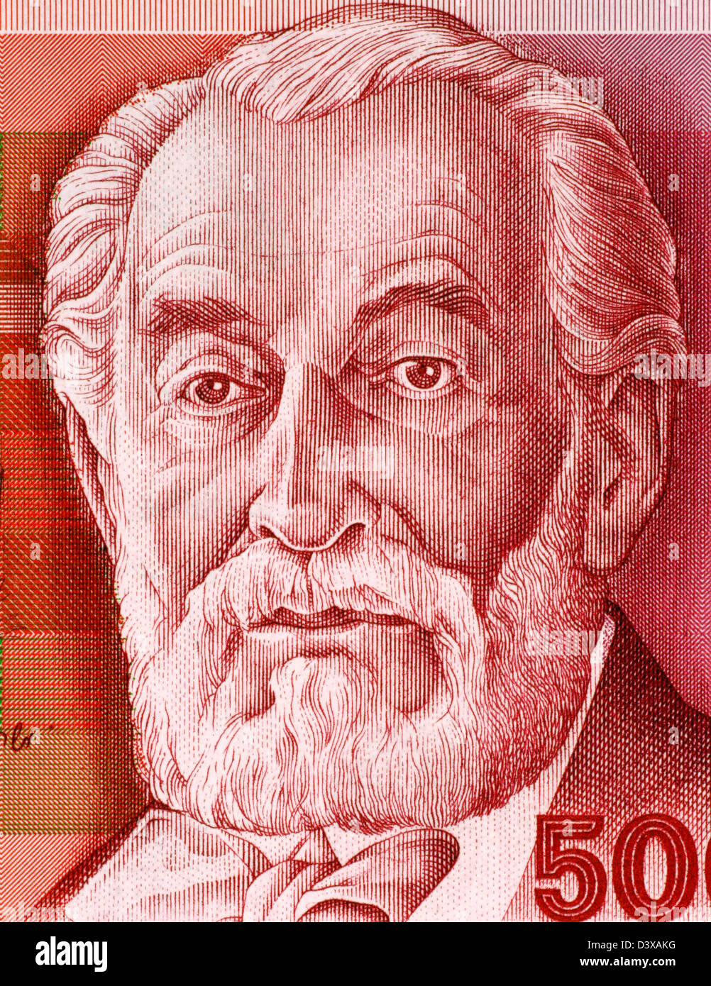 Edmond James de Rothschild (1845-1934) on 500 Sheqalim 1982 Banknote from Israel. French member of the Rothschild - Stock Image