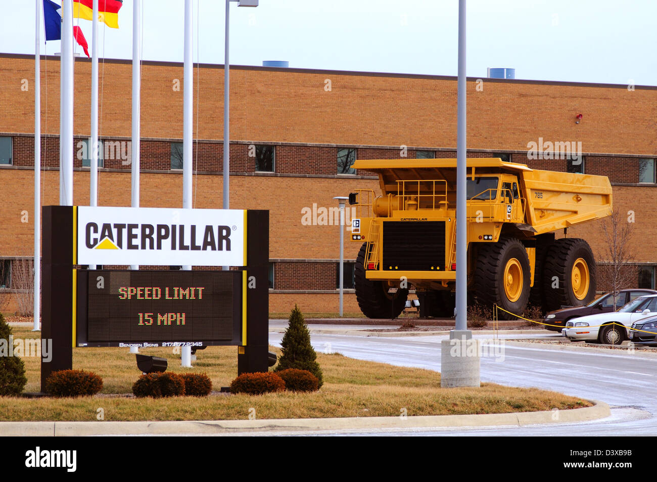 Caterpillar 785 off road mining truck at the Decatur, IL manufacturing plant - Stock Image