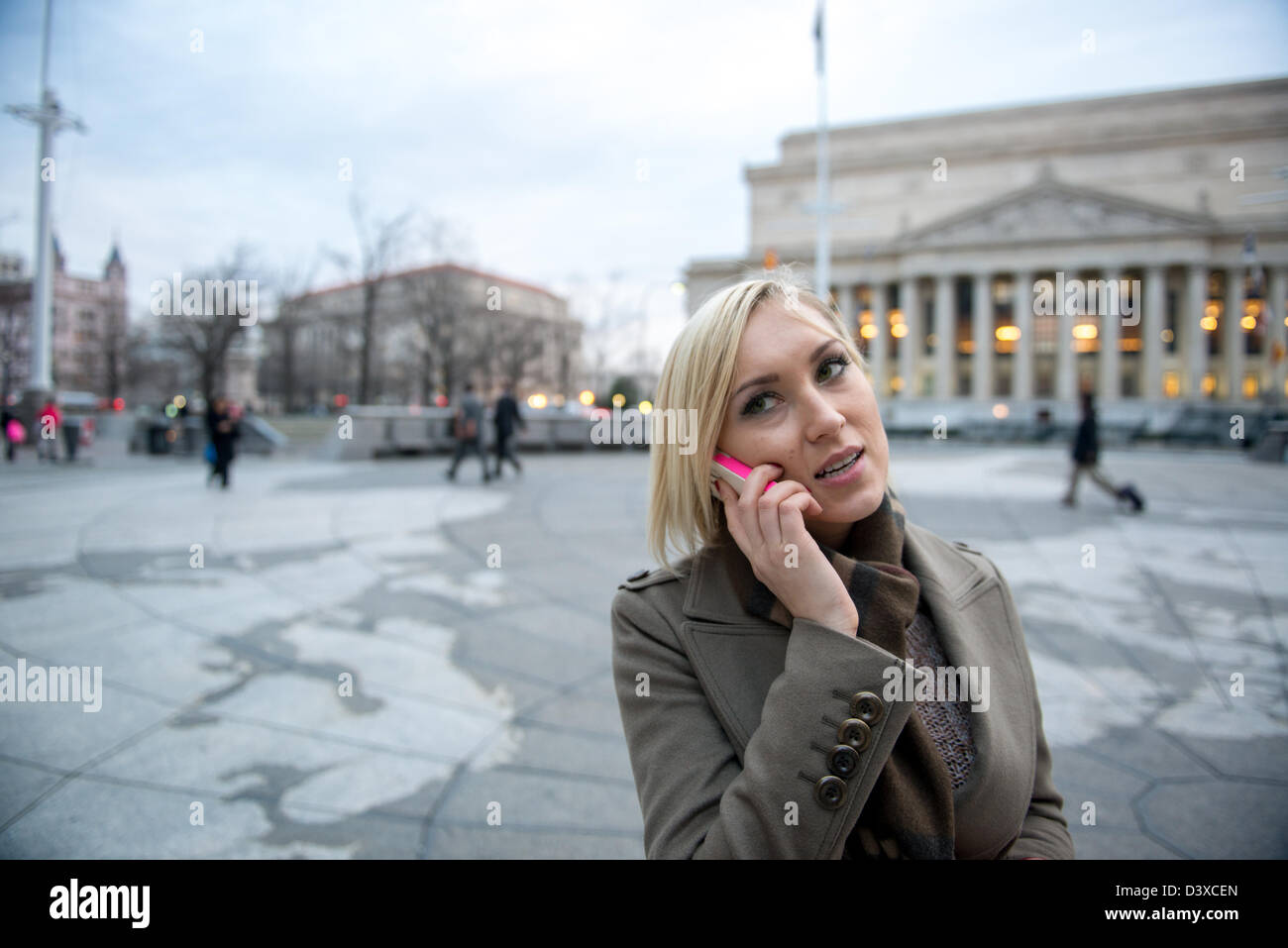Woman Speaking On Cell Phone On Large World Map In Washington Dc