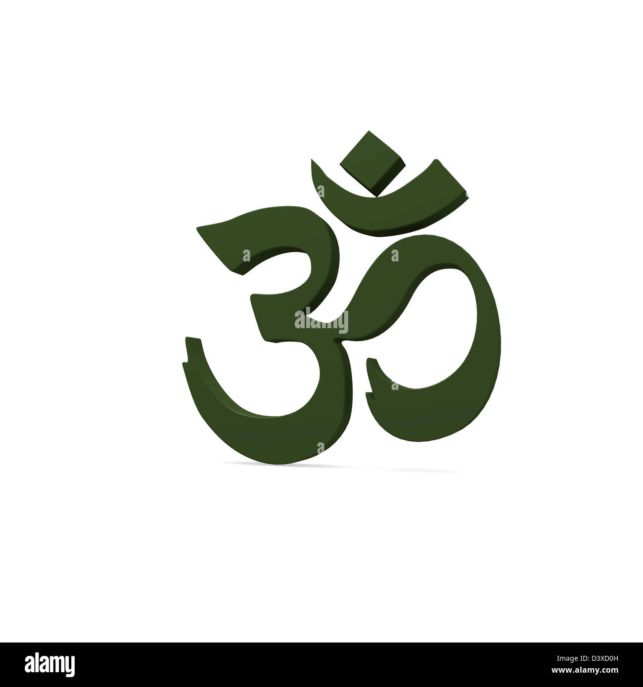 Green Om sign on a white background - Stock Image