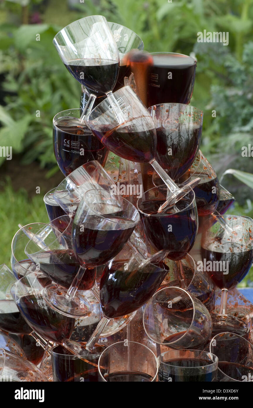 stack wine. Wine Glass Stack Glasses Used As Water Feature With \u0027wine\u0027 Cascading Down Exhibit Otley College Suffolk County Show